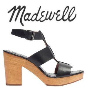 Madewell Irving Black Leather Platform Chunky Heel